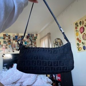 Monogram mini black fendi purse
